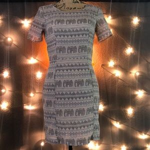 Tribal print beige and blue dress with two pockets
